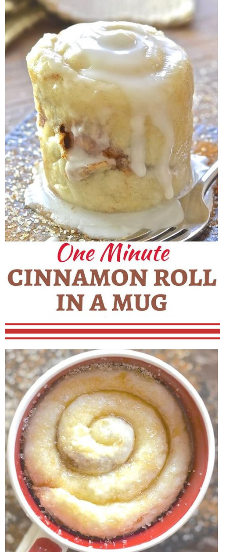 Cinnamon Roll in a Mug  #food