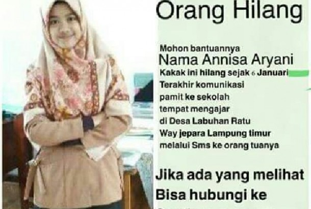 Muslimah Guru SMAIT di Lampung ini Hilang Misterius Usai Mengaku Ikut Pelatihan