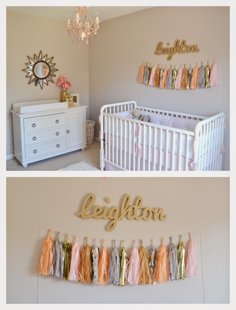 nursery coral and gold and tassel garland