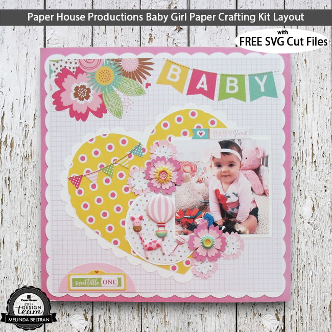 Paper House Productions Baby Girl Paper Crafting Kit Scrapbook Layout