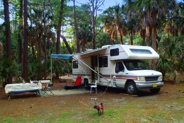 Hunting Island State Park campground in South Carolina with photo by DearMissMermaid.Com
