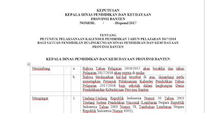 SK Kadis Provinsi Banten Tentang Kaldik