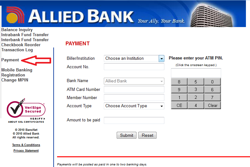 4 Under The Biller Insution Click On Arrow Down Menu To Display You Want Pay Account Number Box Enter Your Billing