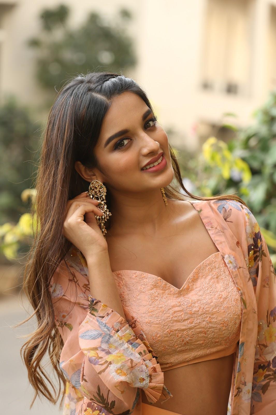 Nidhi agarwal hot kiss, boob press and navel