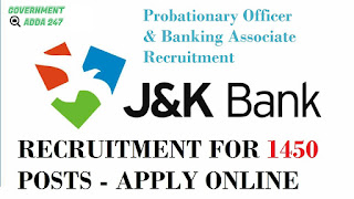 Jammu & Kashmir Bank Recruitment for 1450 Posts