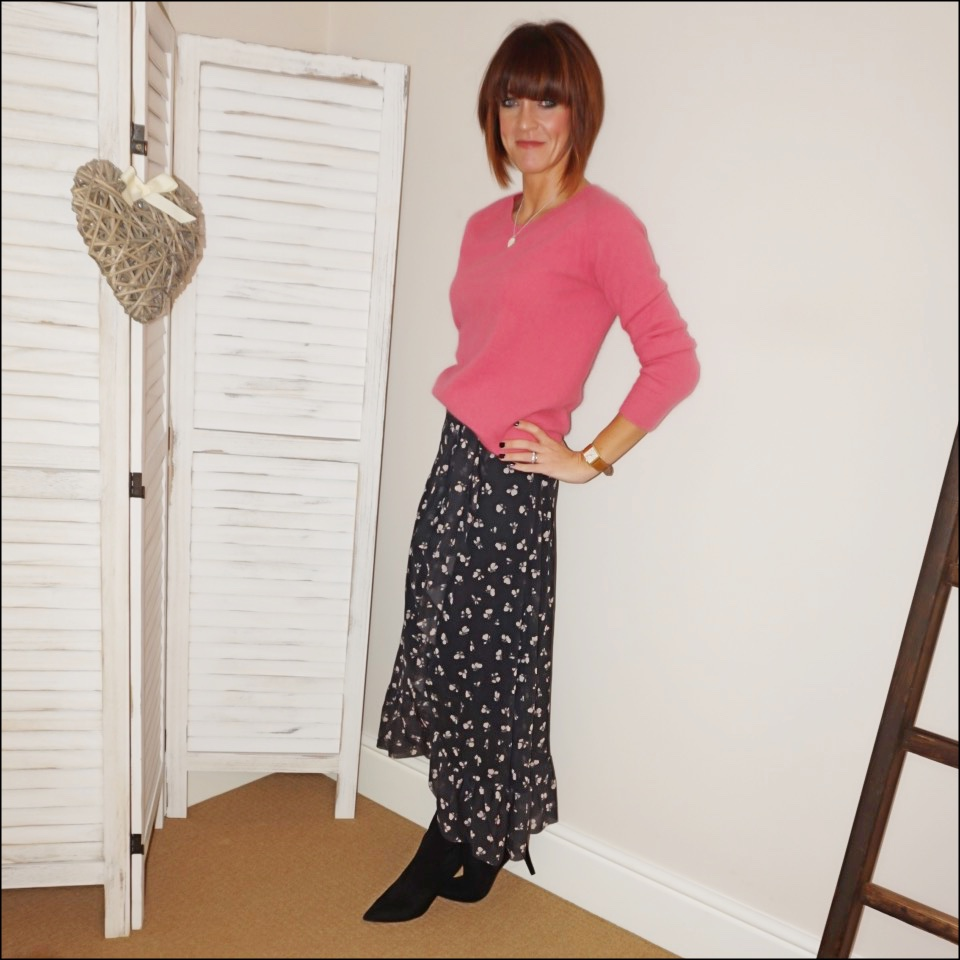 my midlife fashion, acne studios angora crew neck jumper, ganni tilden floral print mesh midi wrap skirt, marks and spencer stiletto heel velvet ankle boots