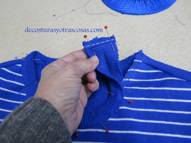 como se coloca una cenefa de punto en un jersey
