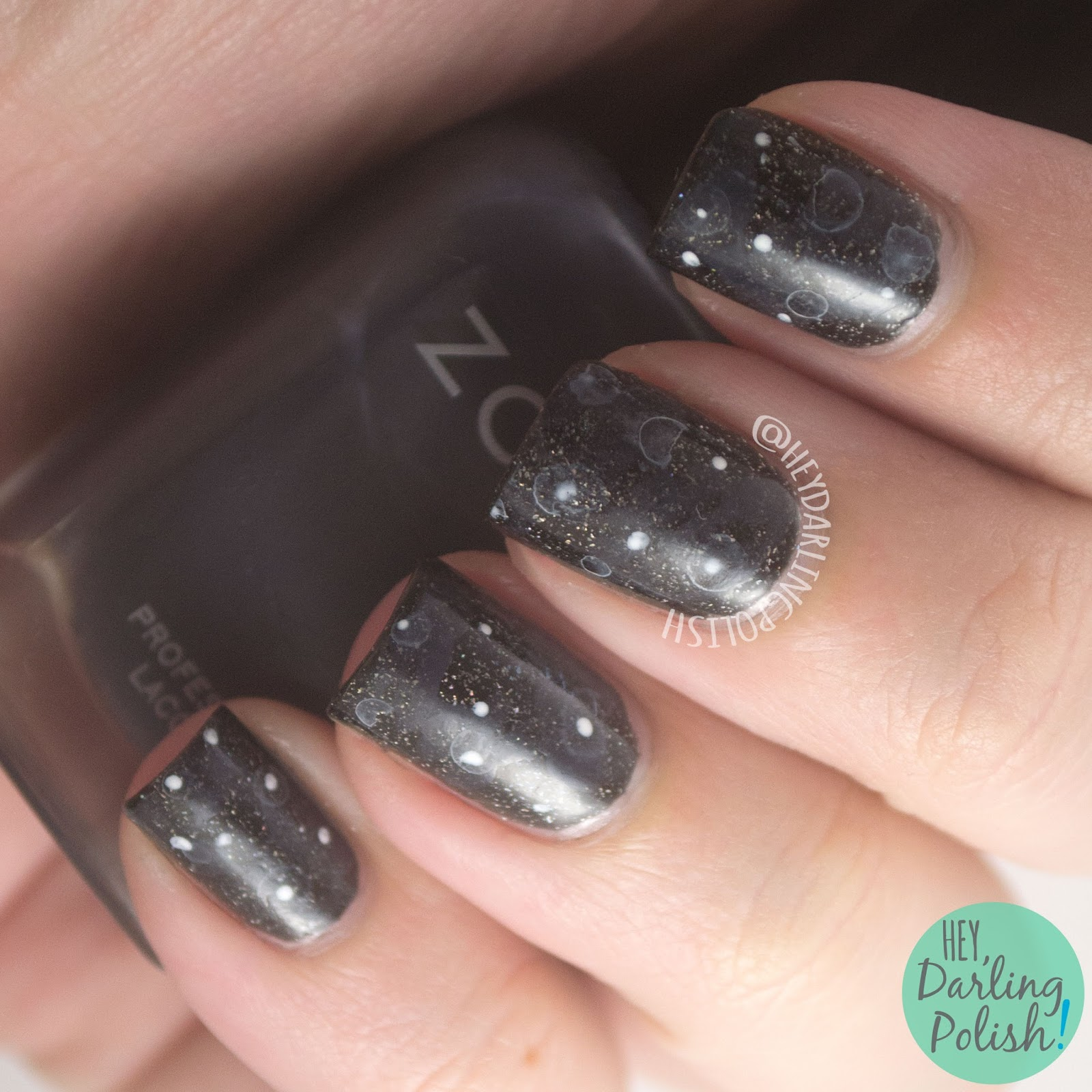 nails, nail art, nail polish, black, stars, hey darling polish, after dark, lacquer legion