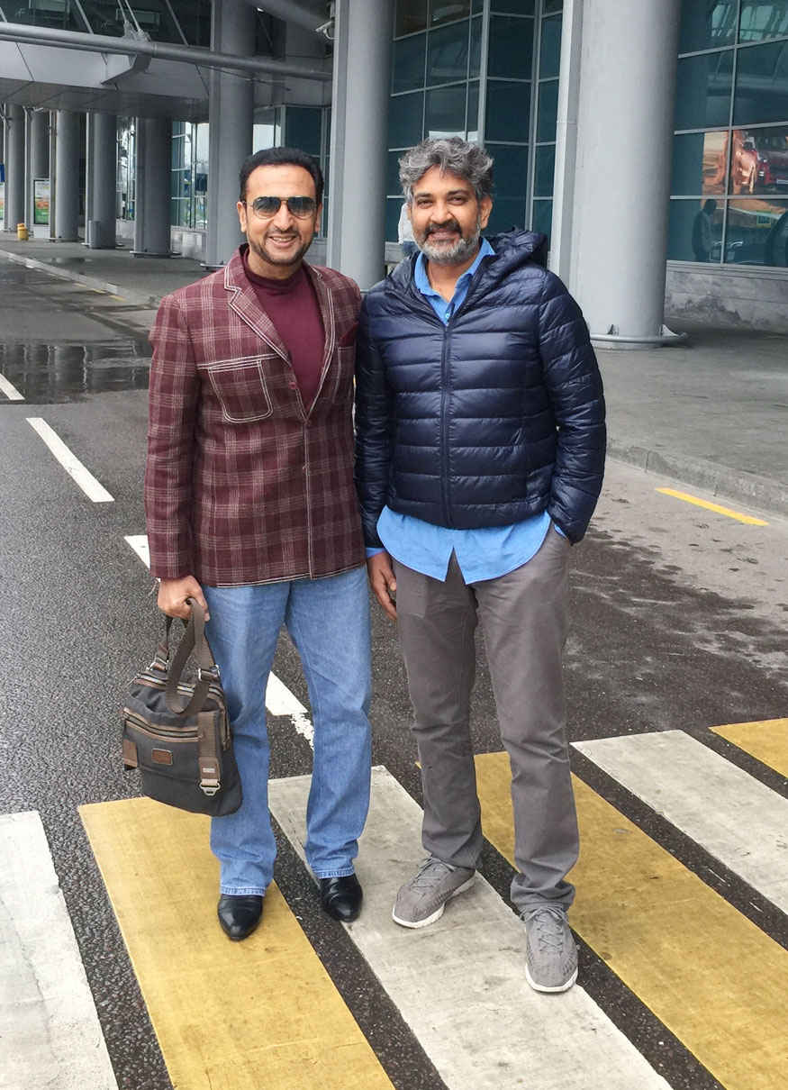 S. S. Rajamouli and Gulshan Grover At The Airport In Moscow