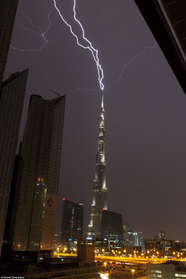 The Burj Khalifa being struck by Lightning