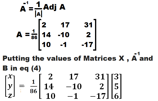 HOW TO SOLVE LINEAR EQUATIONS OF THREE VARIABLES BY  MATRIX  METHOD