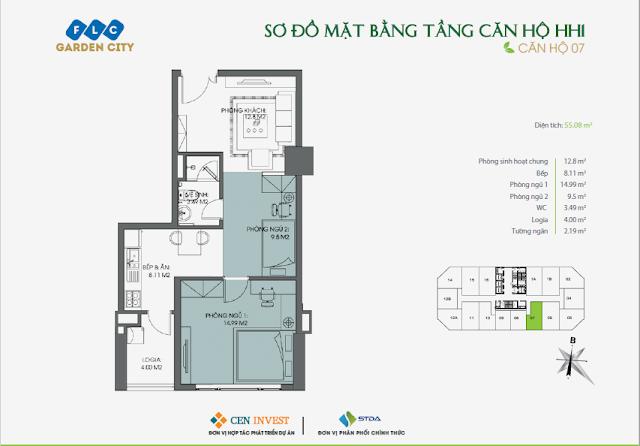 Thiết kế căn hộ 07, dt 55m, tòa HH1 FLC Garden City