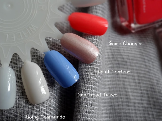 Trust Fund Beauty Nail Polish Going Commando, Game Changer, Adult Content, I Give Good Tweet Swatches