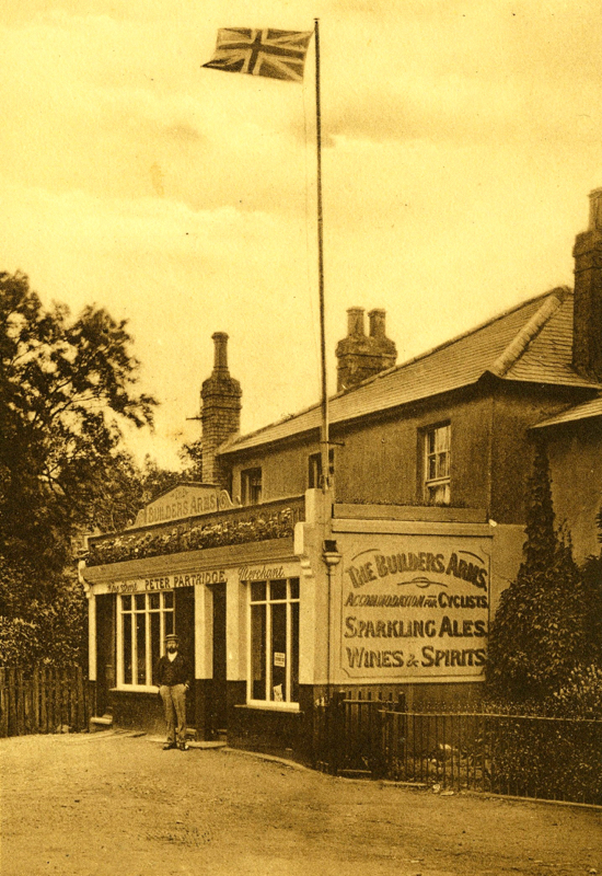 Photograph of The Builders Arms, Little Heath, Potters Bar in the 1900s with landlord Peter Partridge outside. Image from R. Papworth