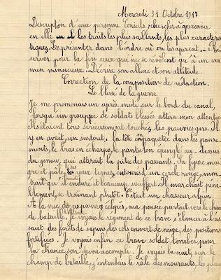 Cahier de rédactions, Hélène T., 10 ans, cours moyen première année, 1917 (collection musée)