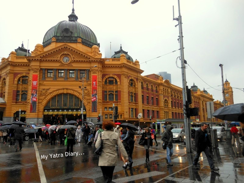 People watch at the Flinders street station, Melbourne Australia