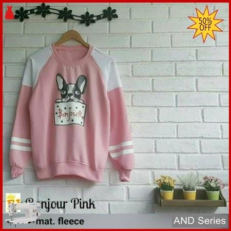 AND274 Sweater Wanita Bonjour Pink Murah BMGShop