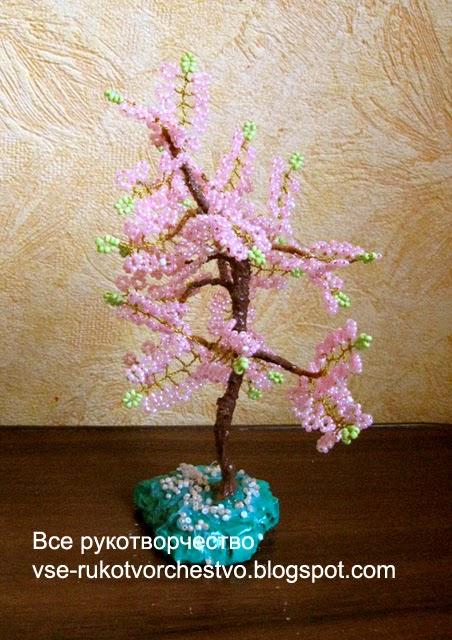 Дерево сакура из бисера. МК с пошаговым фото