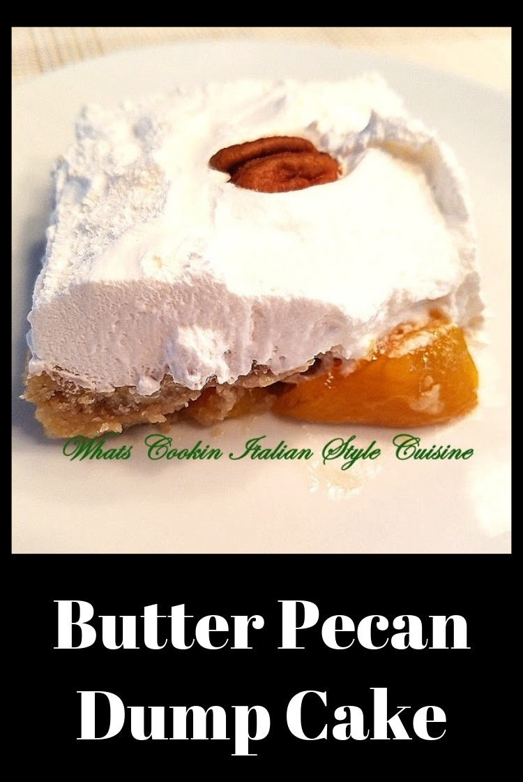 This is cake mix baked with whipped cream on top and peaches dumped into the mix before baking then topped with pecans