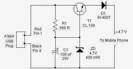 USB-CELLPHONE charger circuit. ~ Electrical Engineering Pics