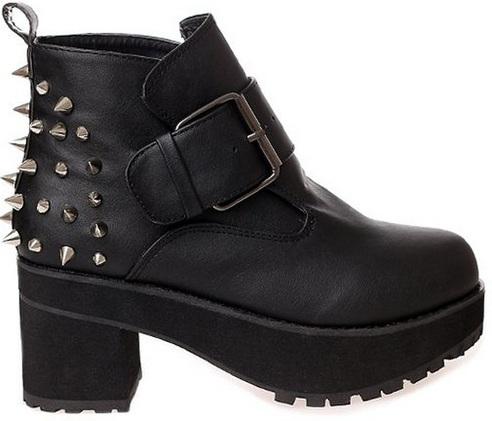 Black Chunky Spike Boots
