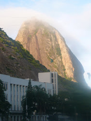 Like Moby Dick breaching ... Upper Landing (in clouds), Sugarloaf Mtn, Rio de Janeiro