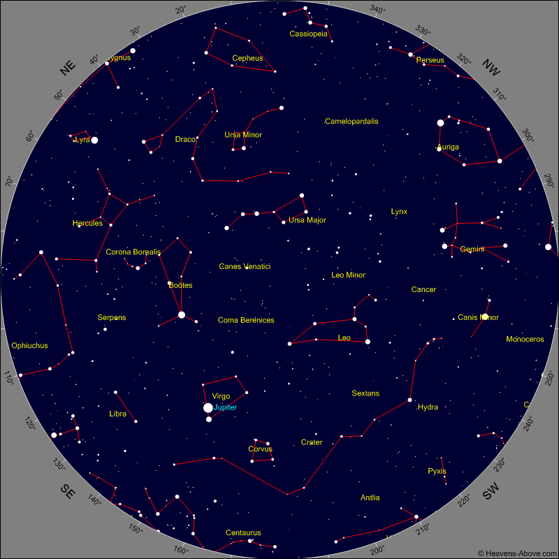 Sky Chart for the morning of Sunday Jan 29th