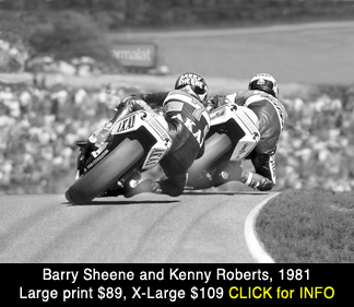 Barry Sheene, Kenny Roberts racing scene large photo print for sale