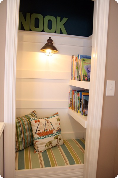 book nook in a closet