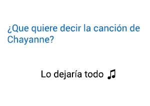 Significado de la canción Lo Dejaría Todo Chayanne.