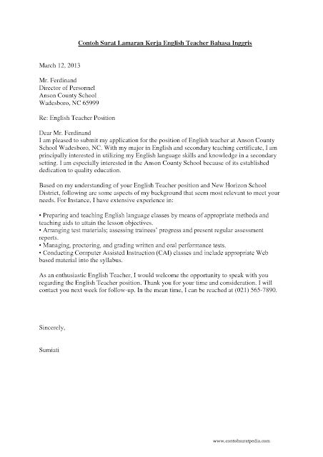 Contoh Surat Lamaran Guru Dalam Bahasa Inggris