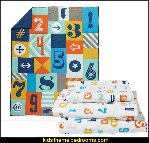 numbers, letters bedding  playrooms alphabet numbers decorating ideas - educational fun learning letters & numbers decor - abc 123 theme bedroom ideas - Alphabet room decor - Numbers room decor - Creative playrooms educational children bedrooms - Alphabet Nursery - Alphabet Wall Letters - primary color bedroom ideas - boys costumes - girls costumes pretend play - fun playroom furniture