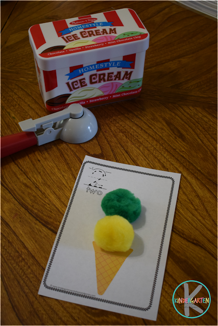practice counting with pom pom ice cream scoops