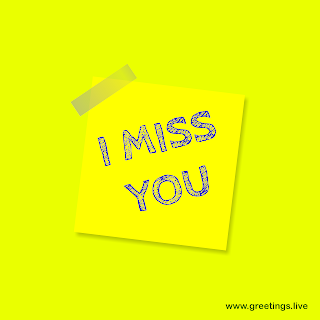 "Stick note pad slip style ""I miss you"" Picture message from greetings.live"
