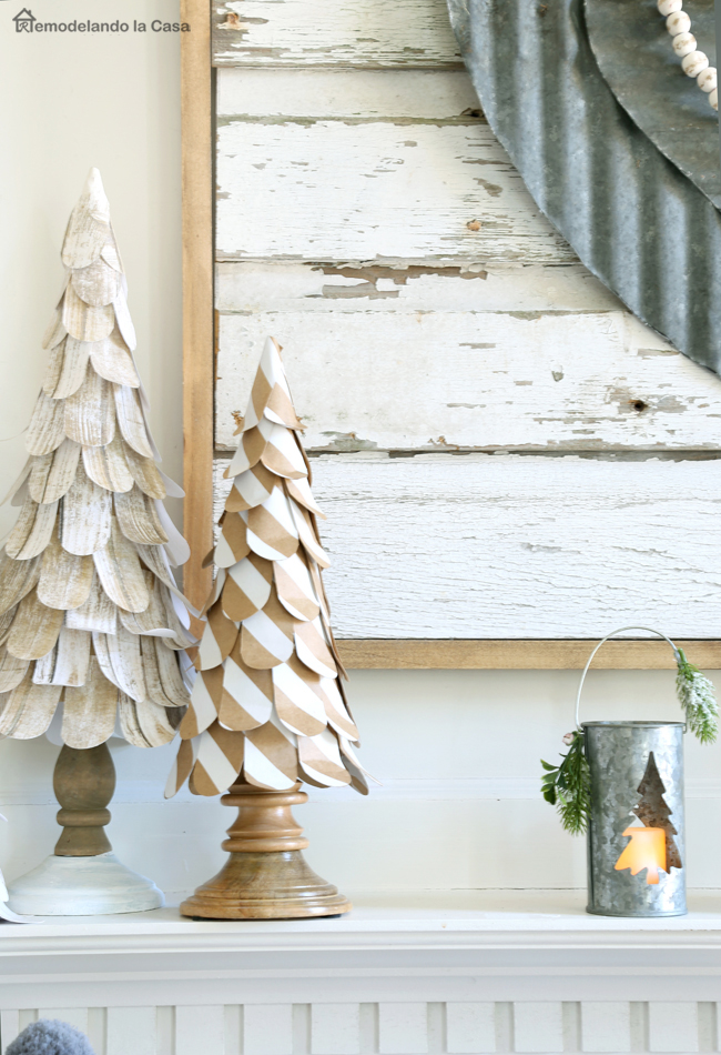 birch paper cone trees and a metal heart wall art mantel display