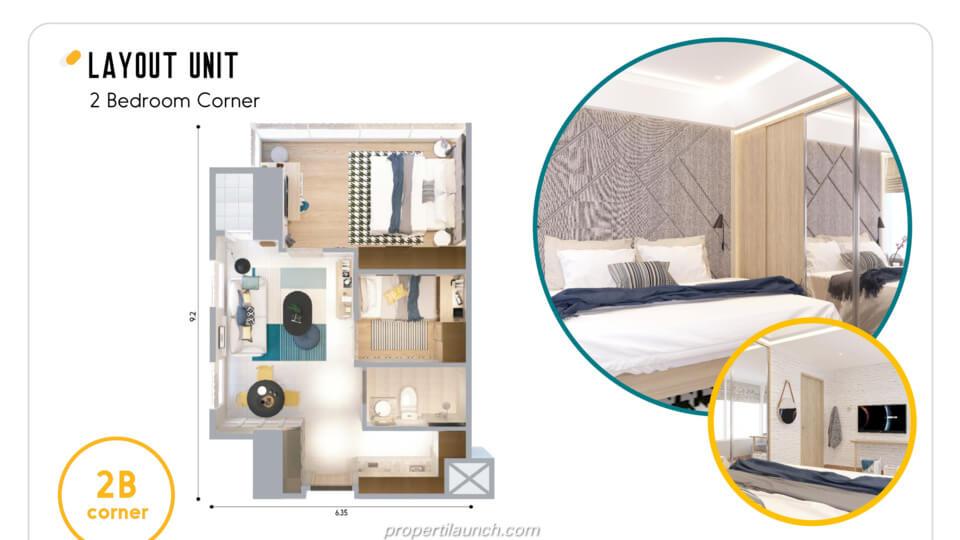 Layout Apartemen Skandinavia Alter Ego tipe 2 BR Corner