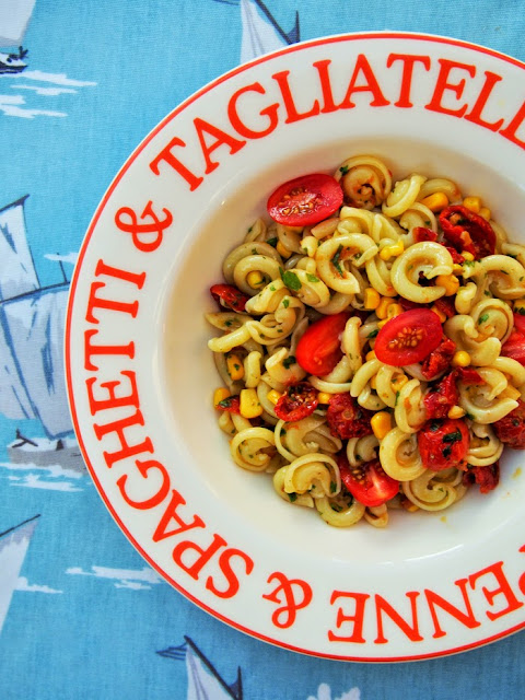 Summer pasta salad with cherry tomatoes and sweetcorn