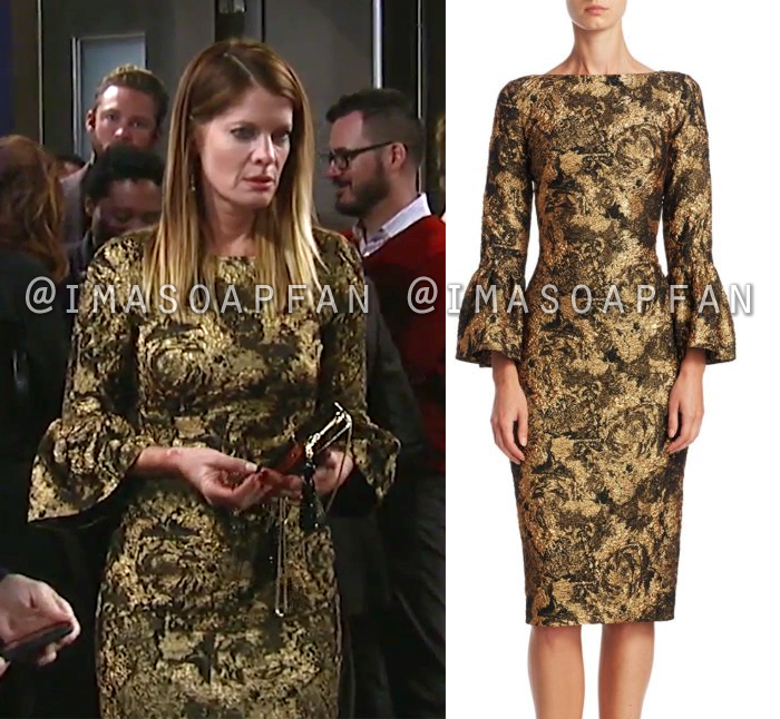 Nina Reeves, Michelle Stafford, Gold Jacquard Dress with Bell Sleeves, General Hospital, GH