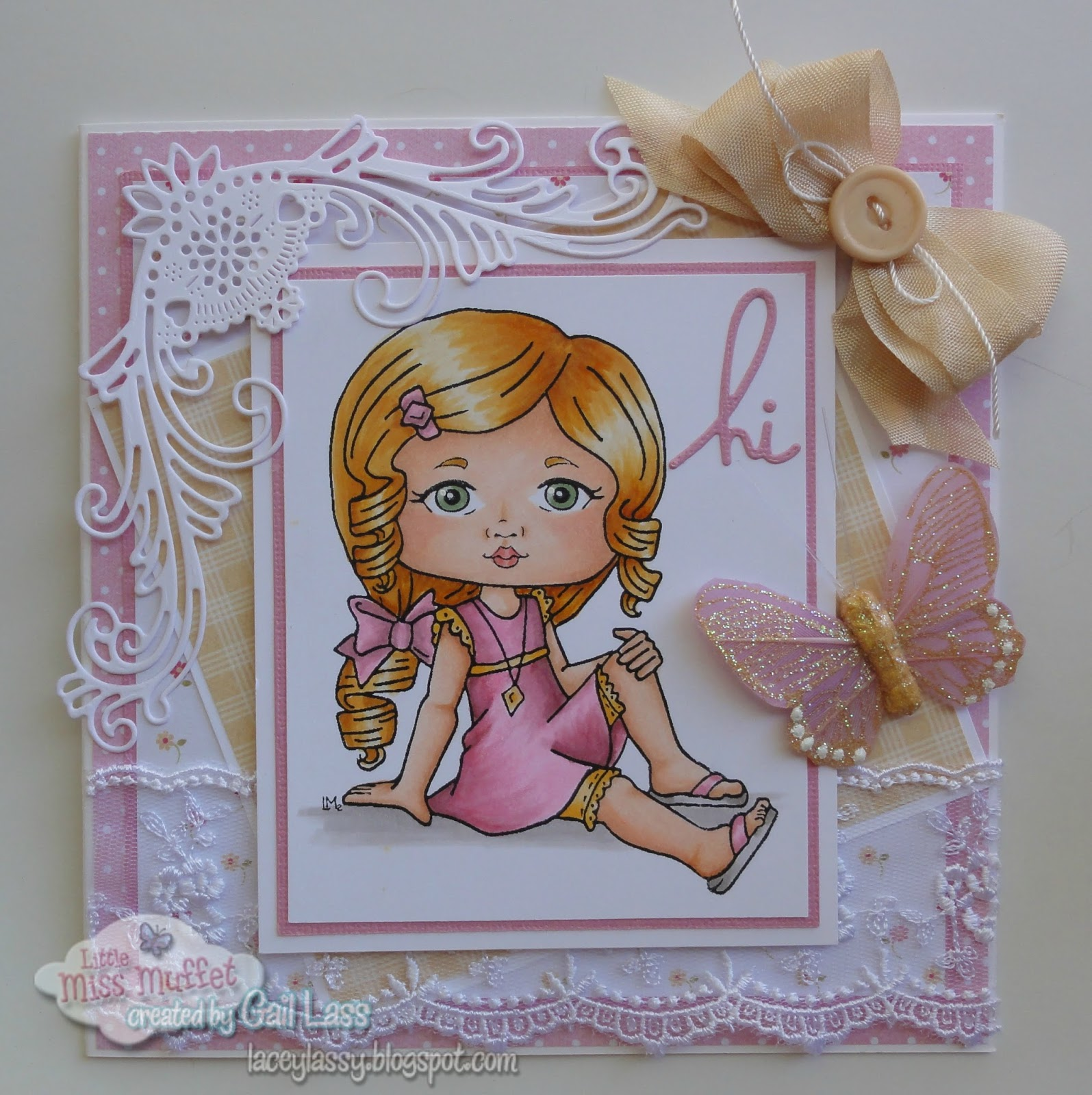 Lacey lassy pretty in pink i colored my image with copics and pulled out my super pretty lace pretty die cut and seam binding kristyandbryce Gallery