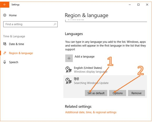 Windows 10 regions & Languages options