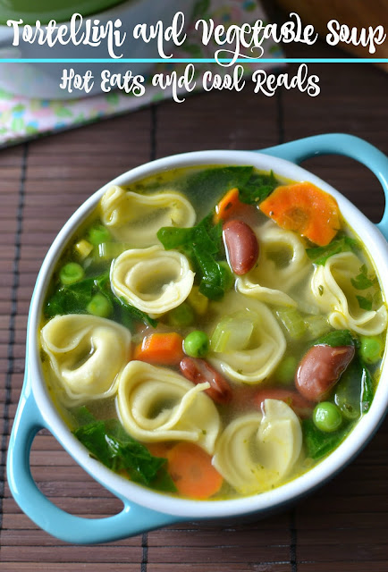 This meatless soup is packed full of tortellini and veggies! So hearty and filling, you don't even miss the meat! Tortellini and Vegetable Soup Recipe from Hot Eats and Cool Reads