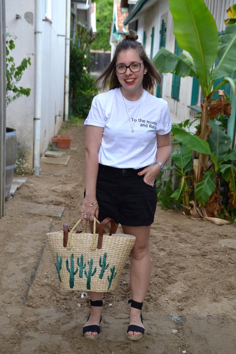 t-shirt Tunetoo, short Pimkie, panier cactus Mango, espadrille Asos