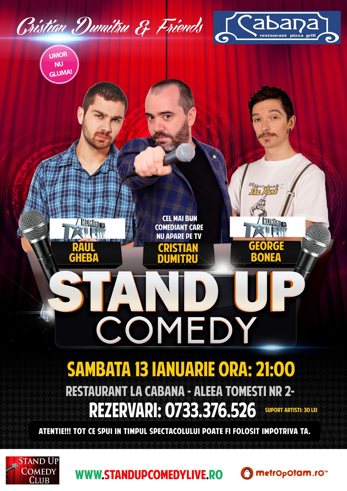 Stand-Up Comedy Sambata 13 Ianuarie La Cabana