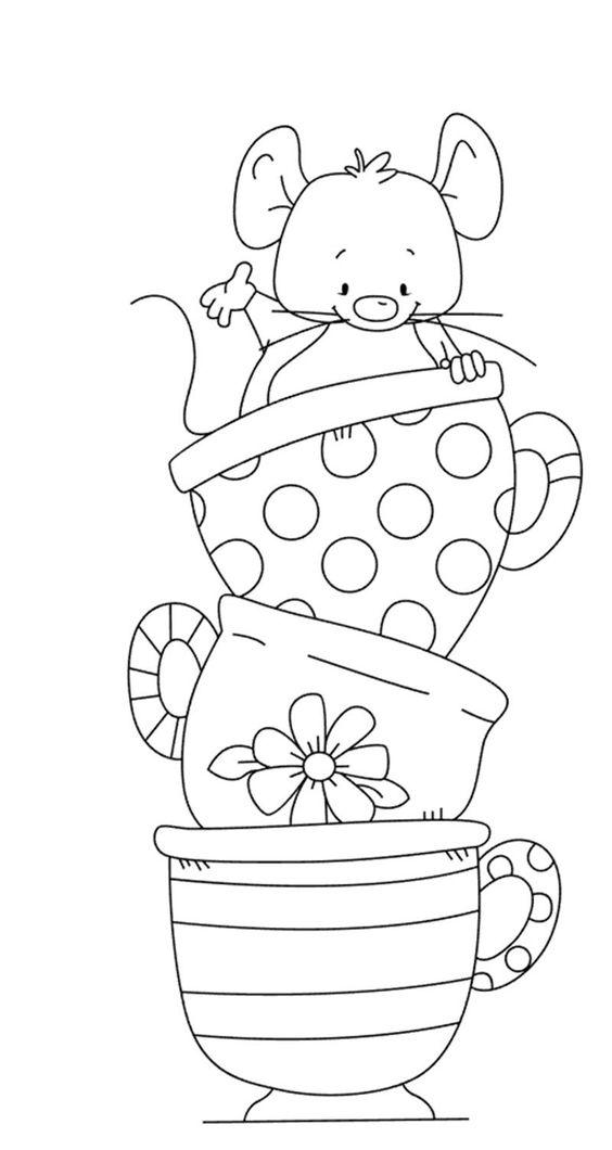 Tranh tô màu con chuột và ba cái tách uống trà