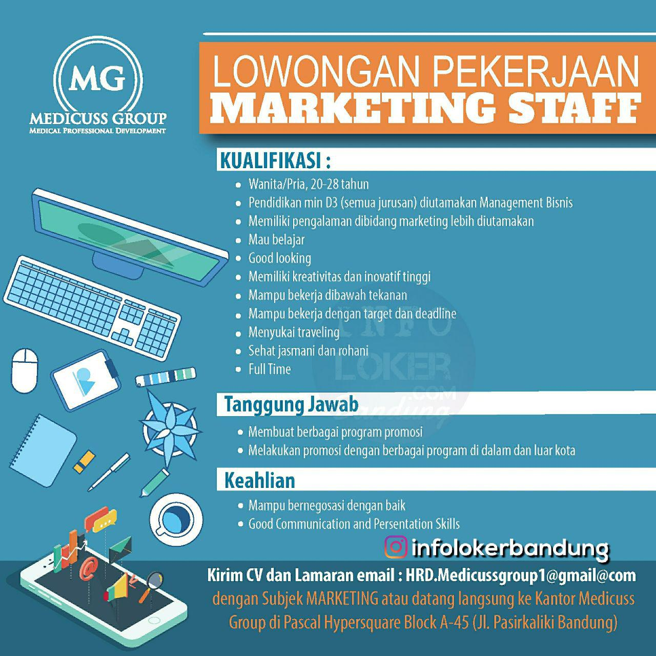 Lowongan Kerja Marketing Staff Medicuss Group Bandung November 2018