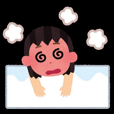 お風呂でのぼせる人のイラスト(女性)
