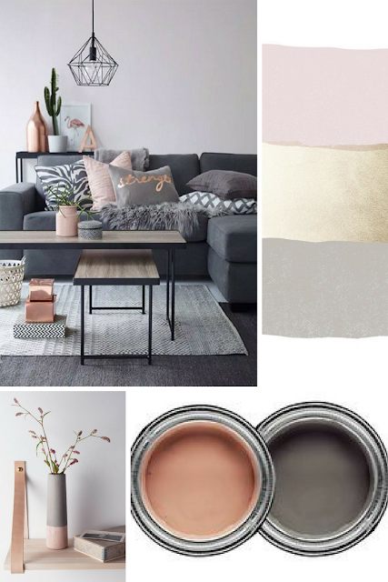 Grey and Blush Living Room