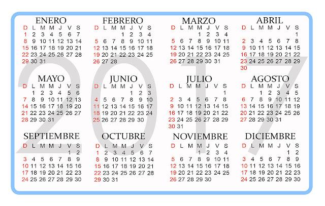 Calendario de bolsillo 2017 - Calendarios para Photoshop gratis.