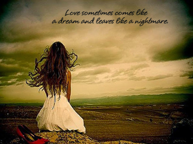 Love sometimes comes like a dream and leaves like a nightmare.
