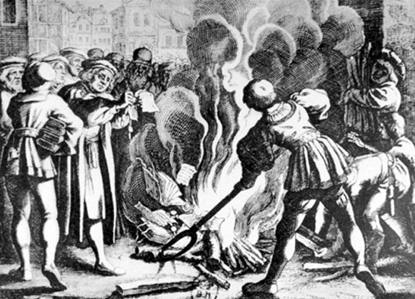 Martin Luther burns the Papal Bull in Wittenberg